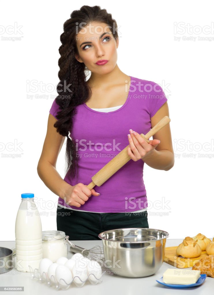 Young woman the chef prepares food isolated – Foto