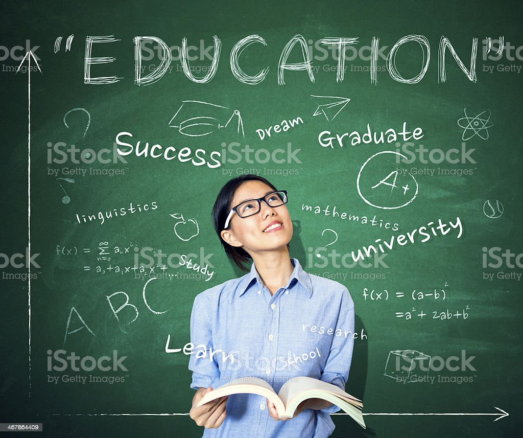 Young Woman thinking about education. stock photo