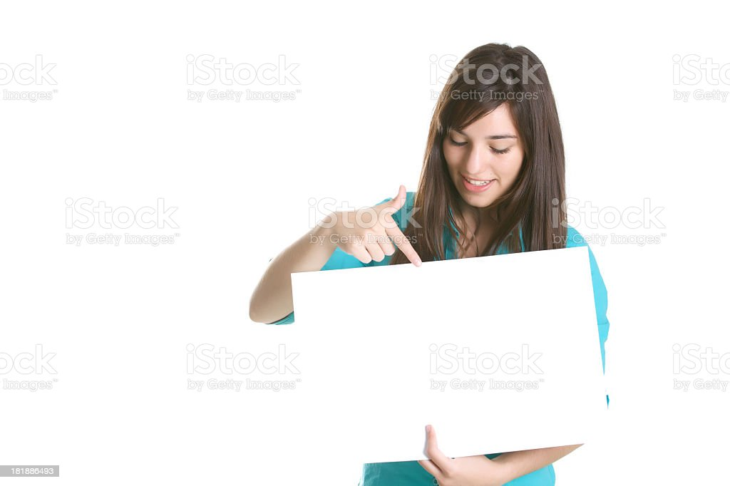 Young woman thinking and holding a sign royalty-free stock photo