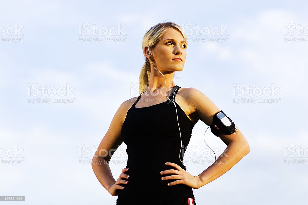 Young Woman Thinking During Workout royalty-free stock photo