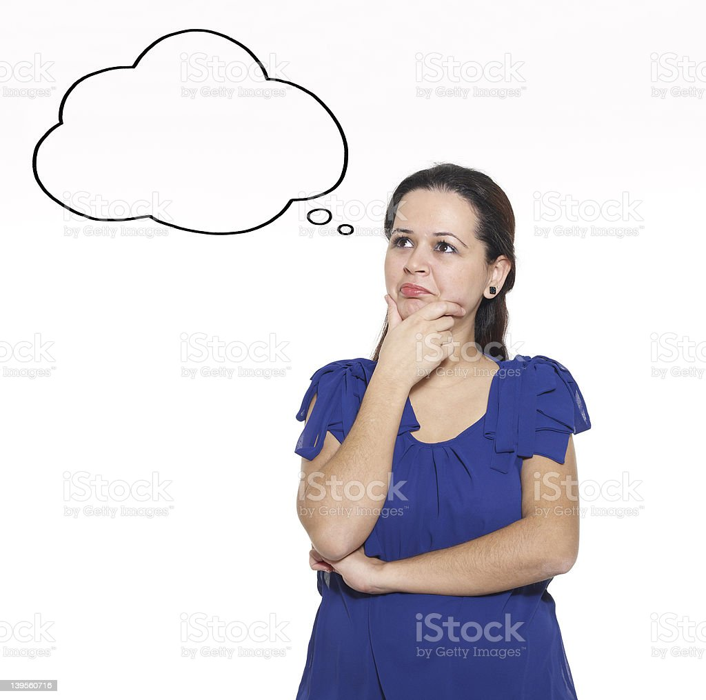 Young Woman Thinking Empty Thought Bubble stock photo