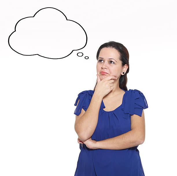 young woman thinking empty thought bubble - thought bubble stock photos and pictures