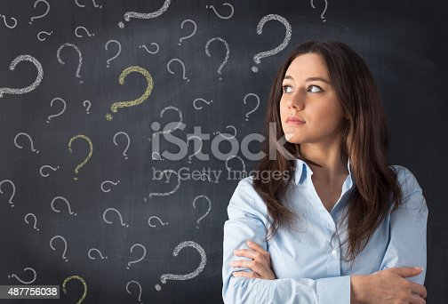 istock Young woman thinking with blackboard 487756038