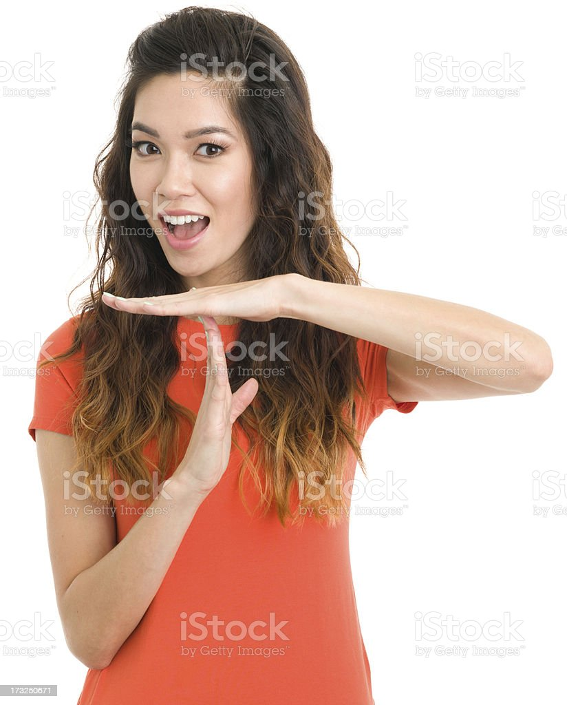 Young Woman Time Out Gesture stock photo