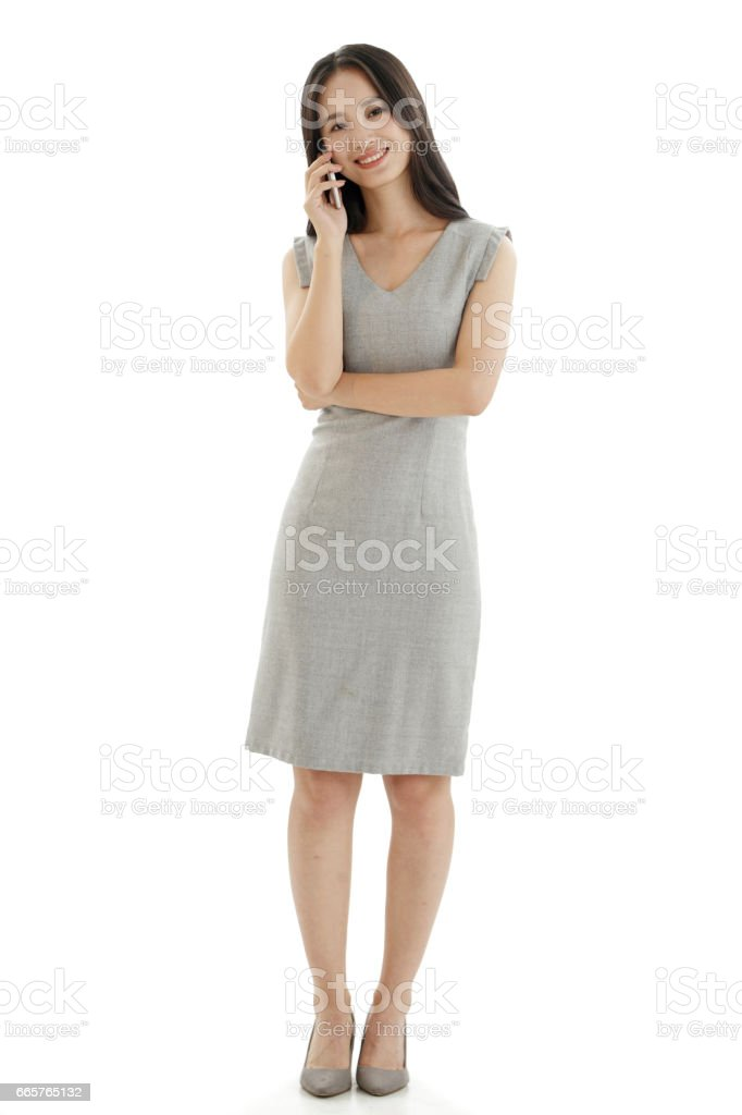 Young woman to call stock photo