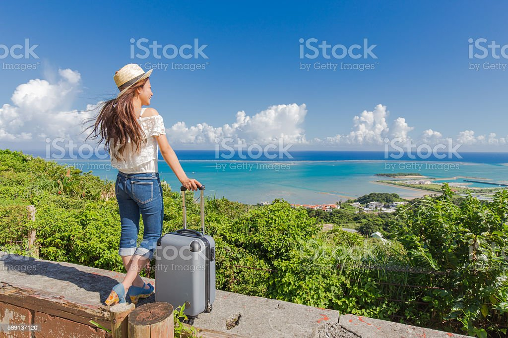 Young woman to travel Okinawa ストックフォト