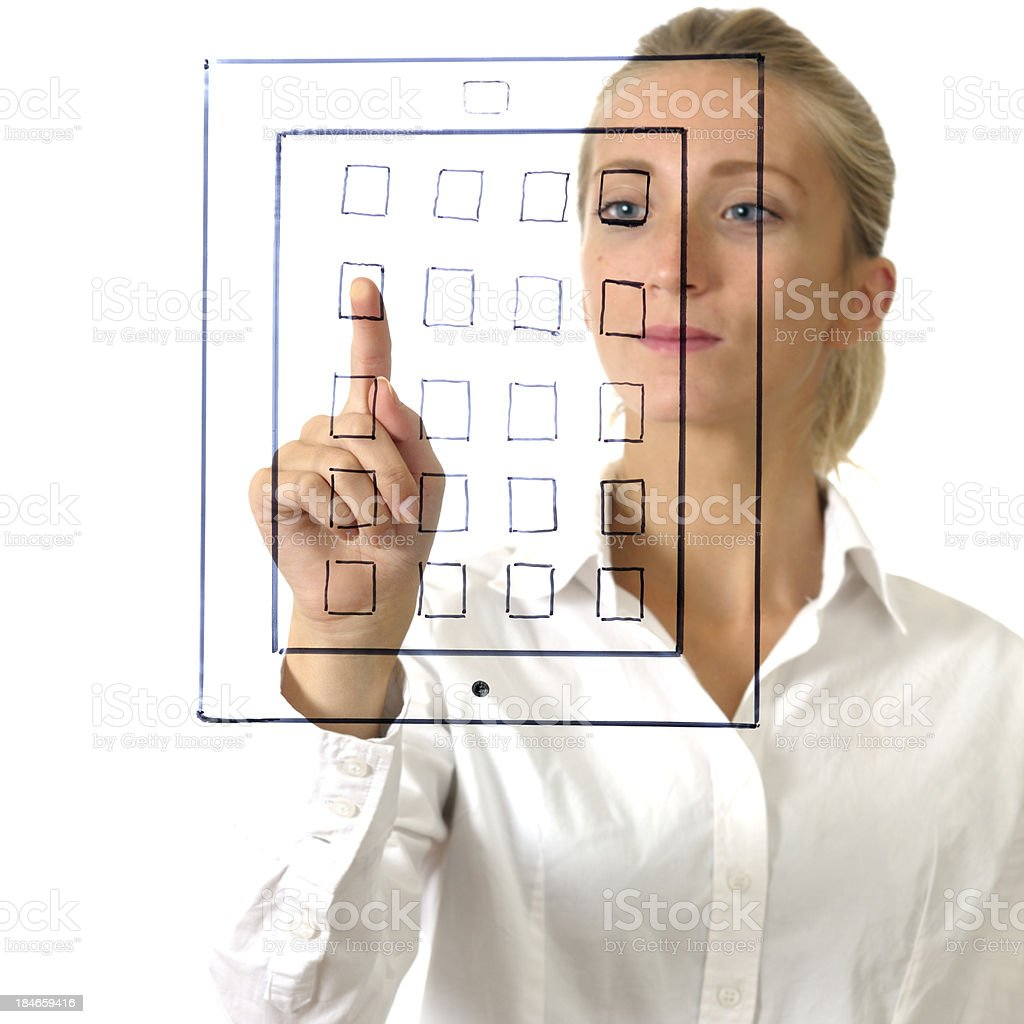 Young Woman Touching Digital Tablet Symbol Sketch royalty-free stock photo