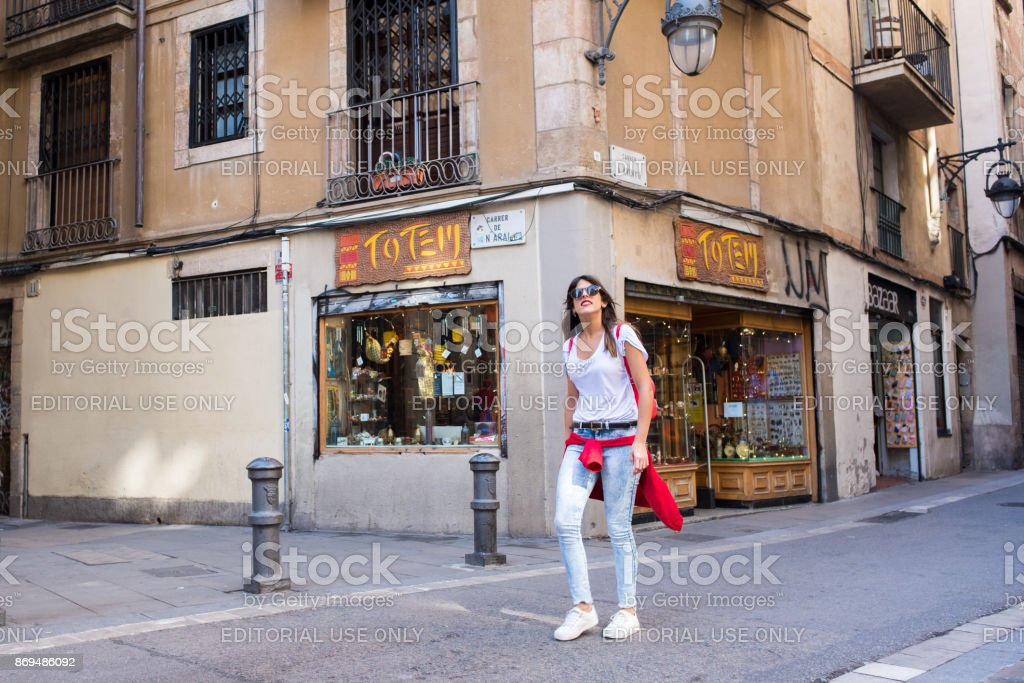 Young woman tourist in Barcelona's Gothic Quarter stock photo