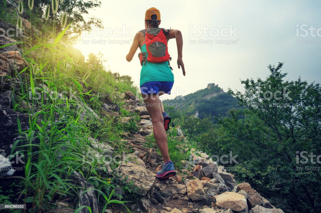 young woman trail runner running at great wall on the top of mountain royalty-free stock photo