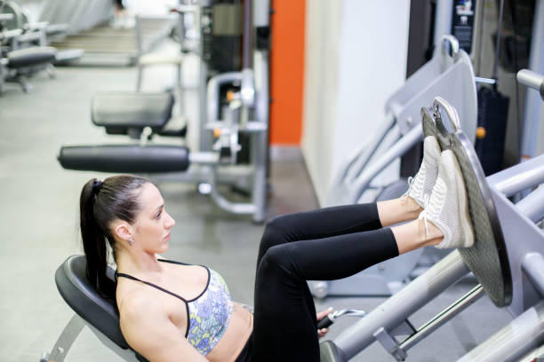 Young woman training at fitness center, Buenos Aires, Argentina stock photo