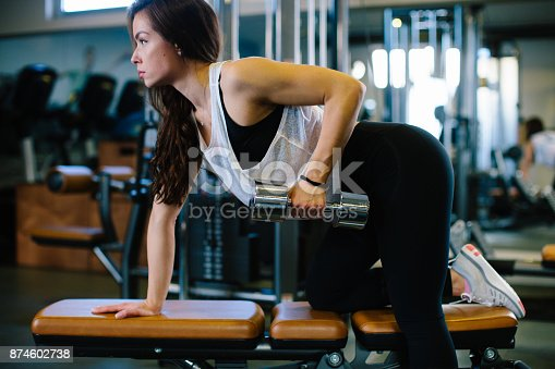 619088796 istock photo Young woman training in gym 874602738