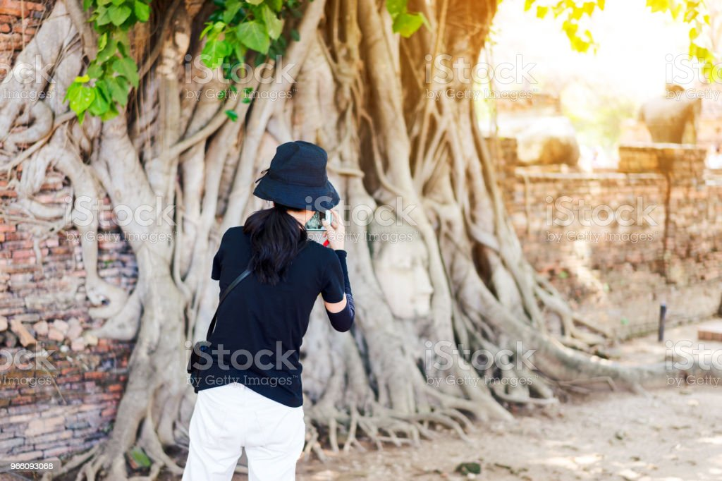 Jonge vrouw reiziger gebruiken smartphone nemen een foto aan het hoofd van de Boeddha, met boomstam en wortels groeien eromheen. In de buurt van Bangkok Thailand Ayutthaya Wat Mahathat tempel. Reizen in Ayutthaya - Royalty-free Adoreren Stockfoto