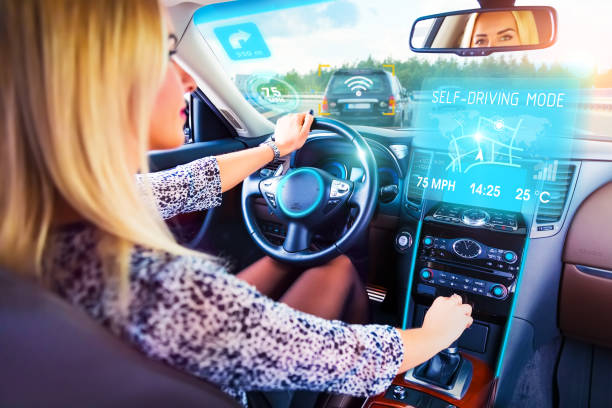 Young woman traveling in self driving car stock photo