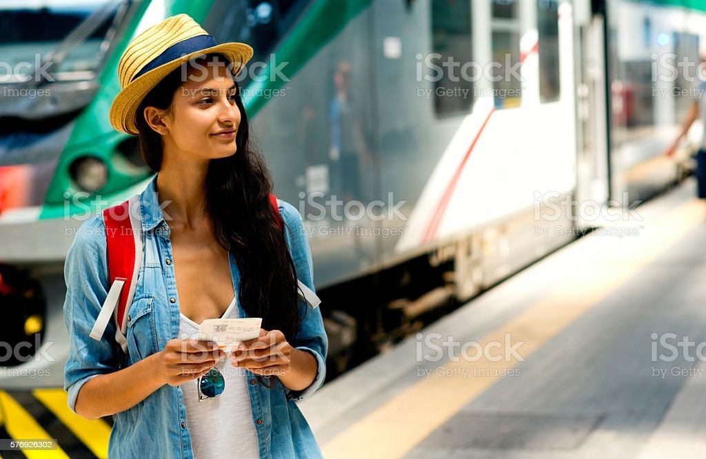 Young woman traveling. stock photo