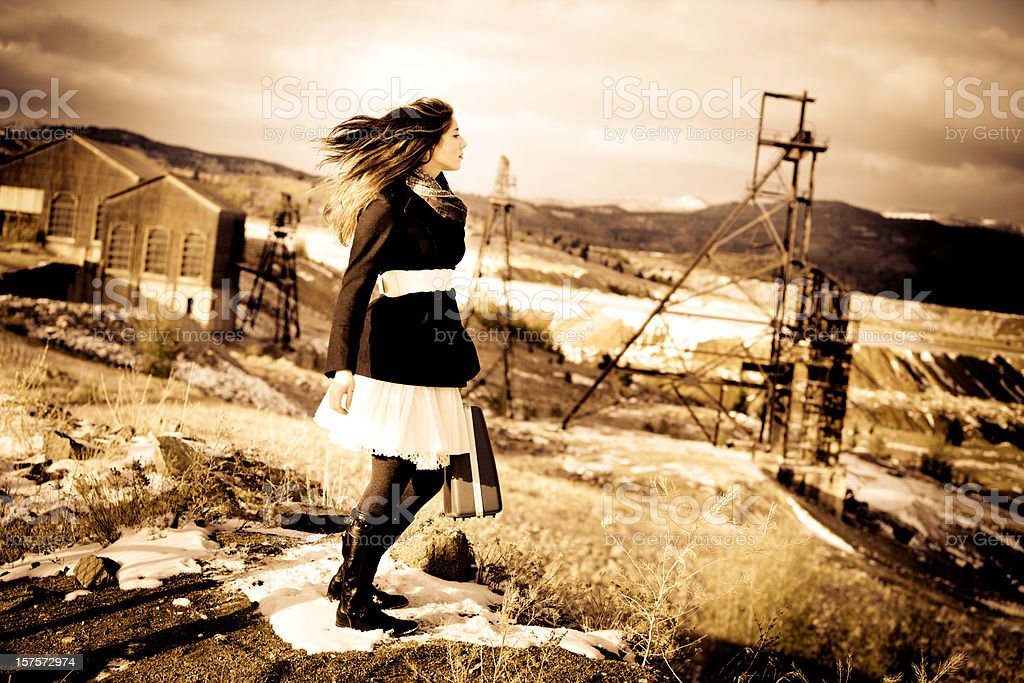 Young Woman Traveling Through Copper Mine royalty-free stock photo