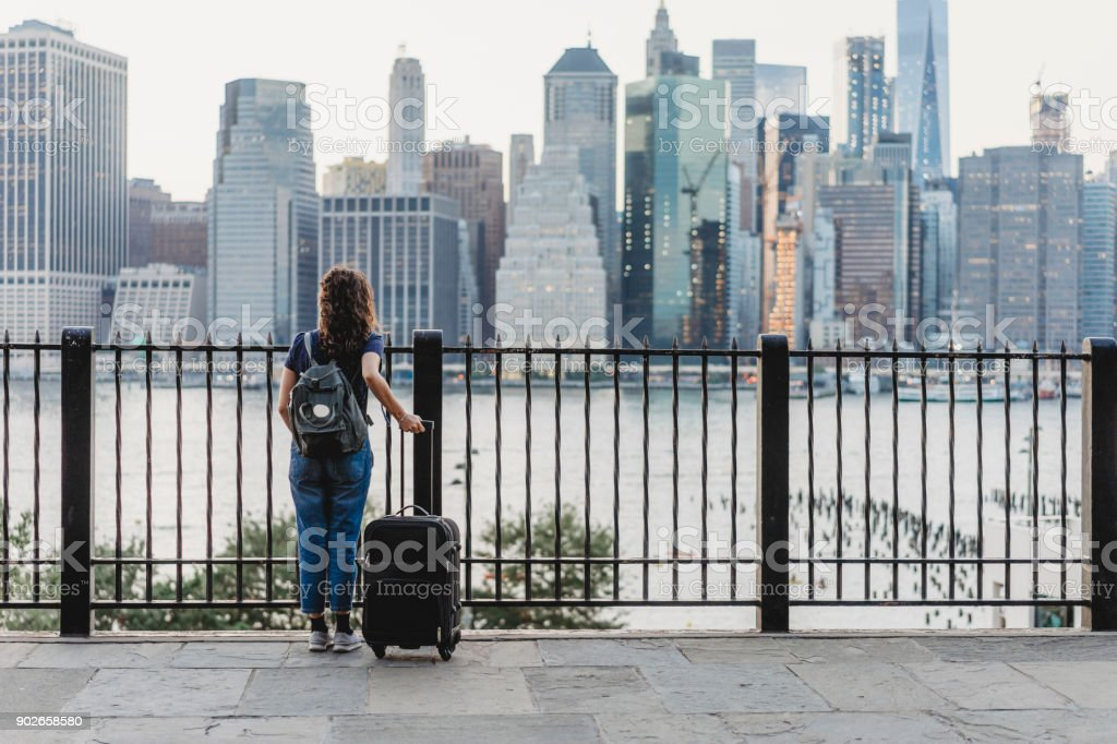 Young woman travelling in New York stock photo