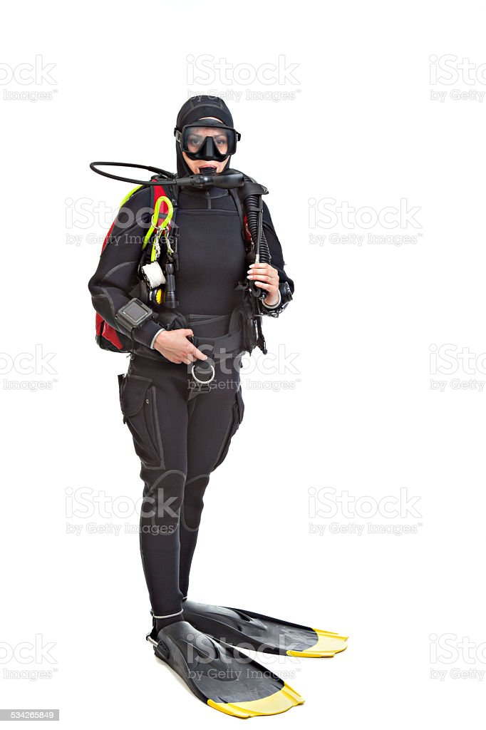 Young woman underwater  diver. stock photo