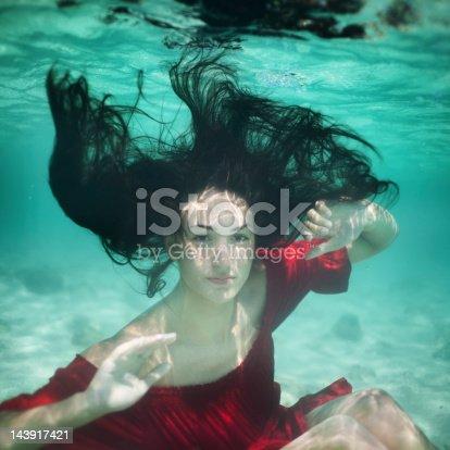 Young woman underwater portrait