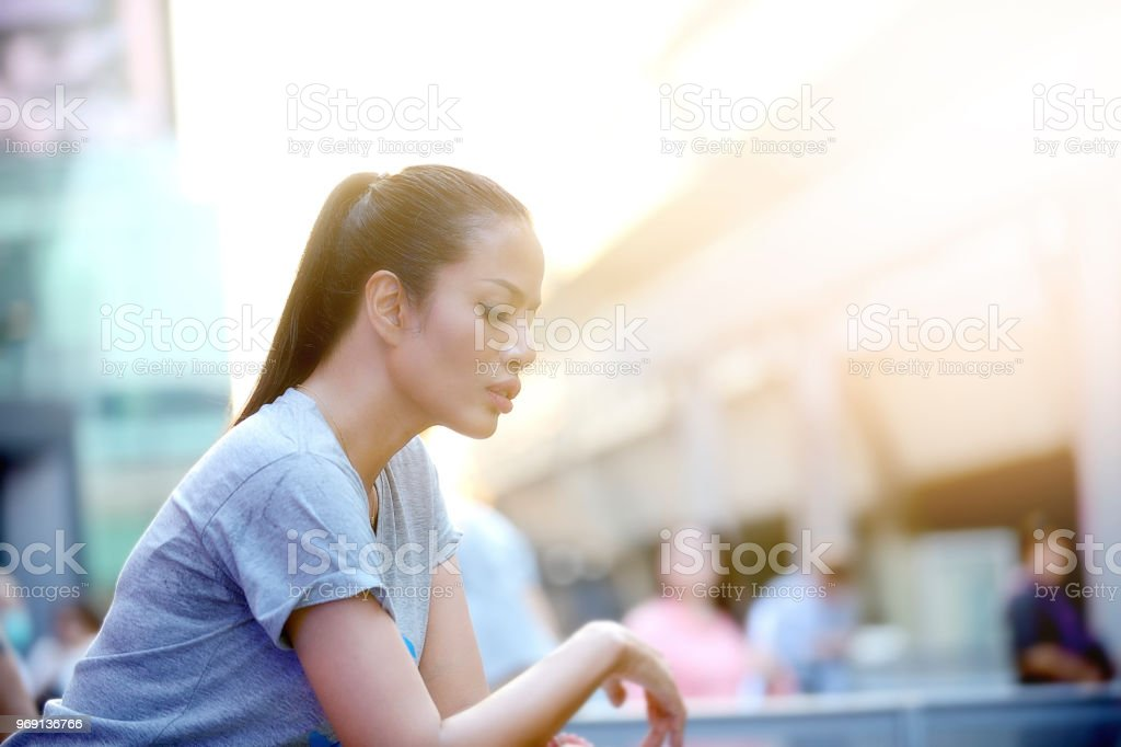 Young woman upset person sad mood disorder. stock photo