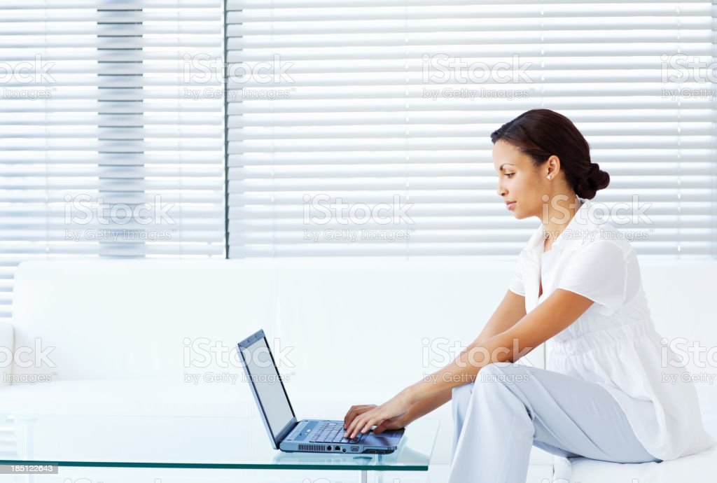 Young Woman Using Laptop royalty-free stock photo