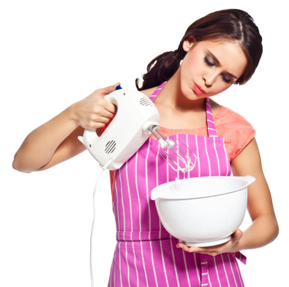 Young Woman Using Mixer Stock Photo - Download Image Now