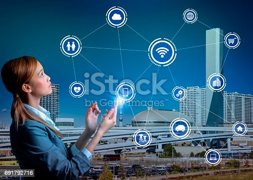 691790416istockphoto young woman using smart phone and wireless communication network concept 691792716