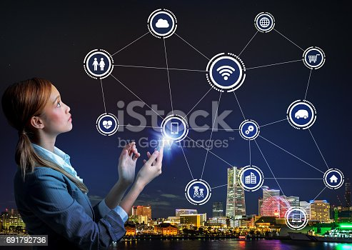 691790416istockphoto young woman using smart phone and wireless communication network concept 691792736
