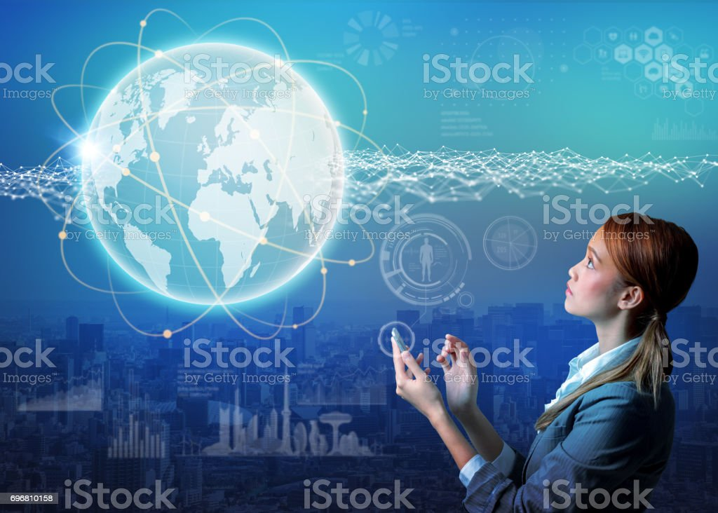 young woman using smart phone and worldwide communication abstract stock photo