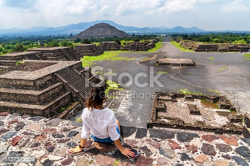 Young woman visits Teotihuacán Pyramids in Mexico