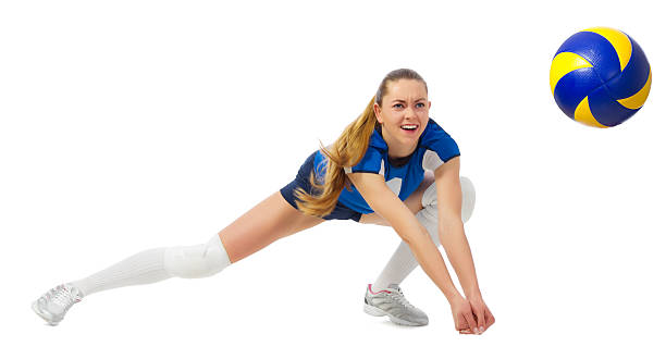 young woman volleyball player isolated - volleyball sport stock photos and pictures