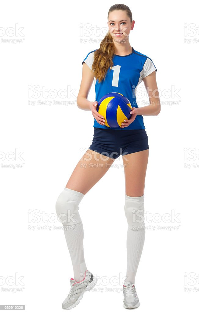 Young woman volleyball player isolated - Photo