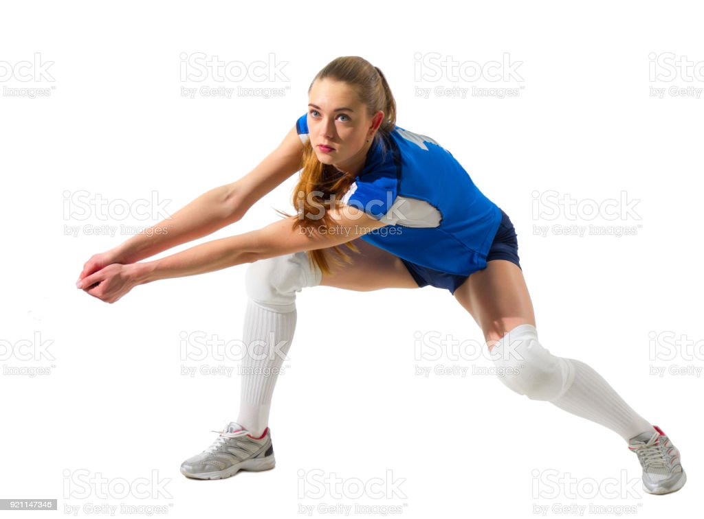 Young woman volleyball player (without ball version) stock photo