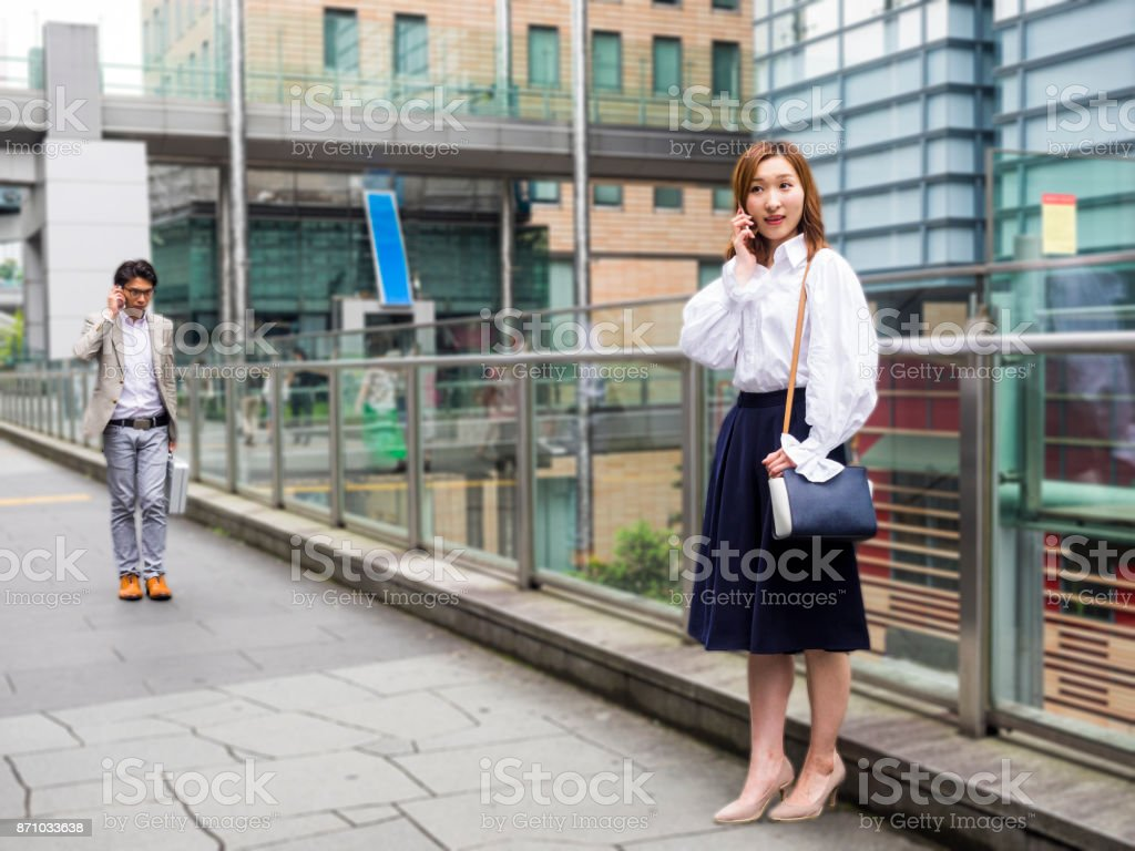 Young woman waiting for a friends. stock photo