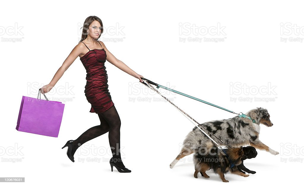 Young woman walking dogs on leash and holding shopping bag. royalty-free stock photo