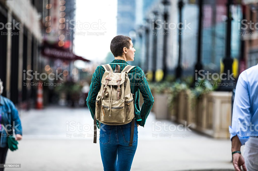 Young woman walking for shopping in downtown Chicago stock photo