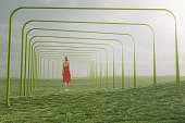 Young woman walking in fantasy meadow. This is entirely 3D generated image.