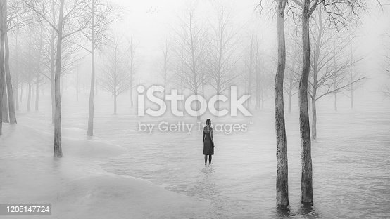 Young woman walking in fantasy winter landscape. This is entirely 3D generated image.