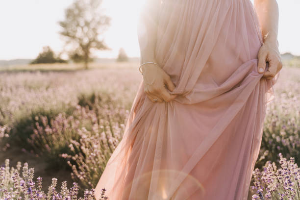 Young Woman Walking in Lavender Field on Sunny Day stock photo
