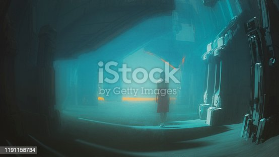 Young woman walking in spooky futuristic street. This is entirely 3D generated image with minor paint over in Photoshop.