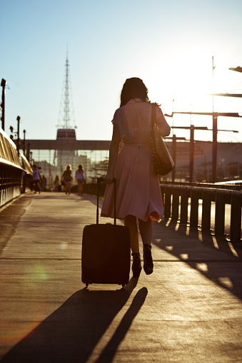Young Woman Walking Sidewalk And Carrying Suitcase Stock Photo - Download Image Now