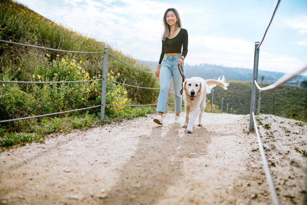Young Woman Walks Her Dog In California Park