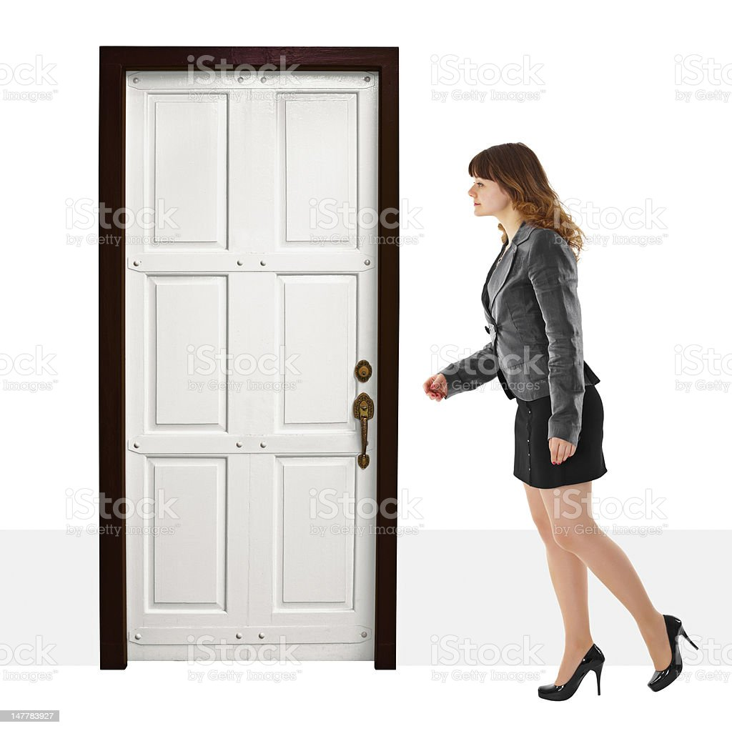 Young woman walks into door royalty-free stock photo