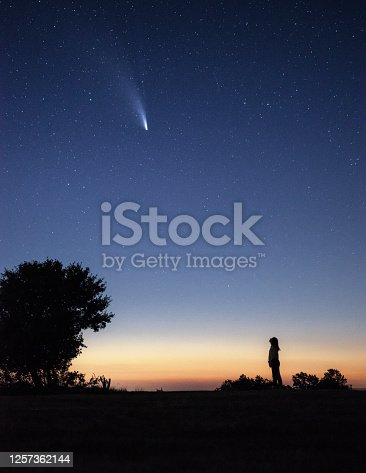 Silhouette of a young woman watching the Neowise comet  under the bright night sky after sunset