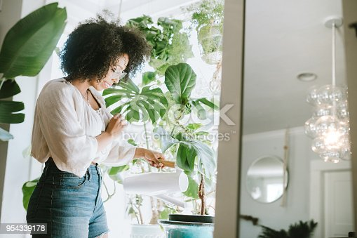 A happy young adult woman enjoys time at her home, the house interior well designed and decorated with an assortment of interesting plants.  She waters one of her plant arrangements with watering can.