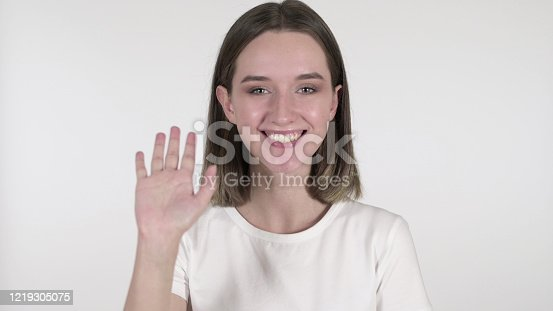 The Young Woman Waving Hand to Welcome on White Background
