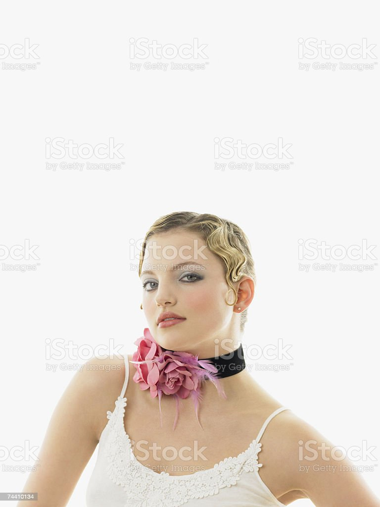 Young woman wearing a choker royalty-free stock photo