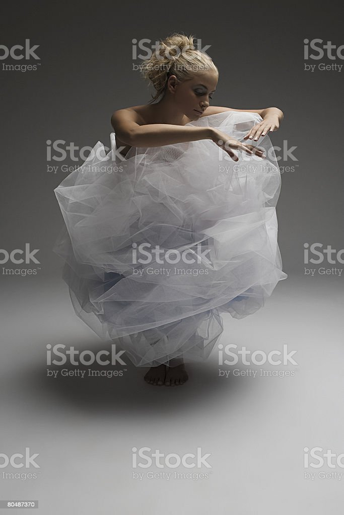 A young woman wearing a net dress royalty-free stock photo