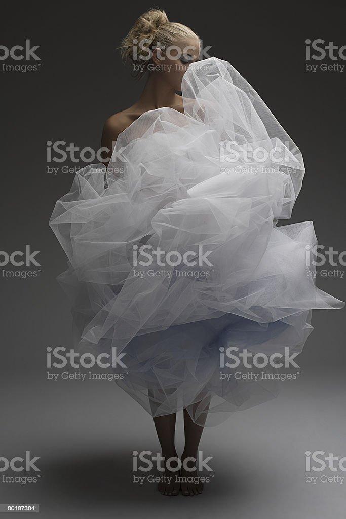 を着ている若い女性のネットドレス ロイヤリティフリーストックフォト