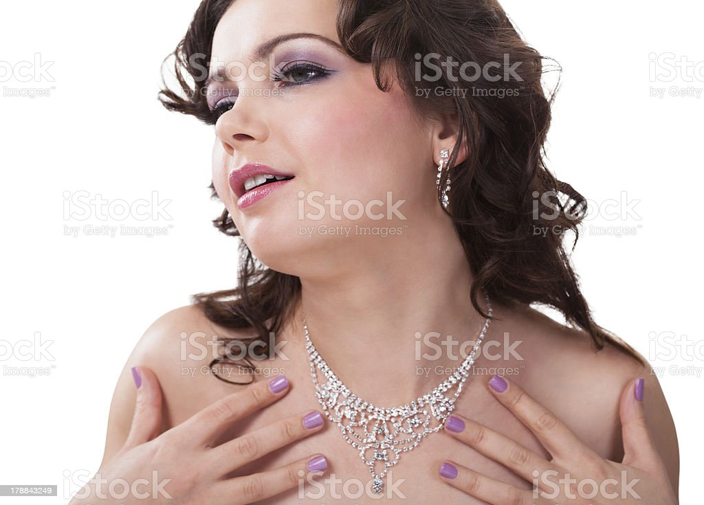 Young Woman Wearing Beautiful Necklace royalty-free stock photo