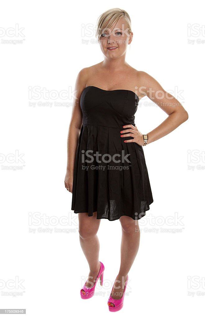 Young woman wearing black dress royalty-free stock photo